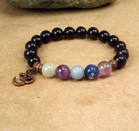 Meditation Bracelet - Relax Calm Soothe - Moonstone, Amethyst, Angelite, Sodalite, Fluorite - Reiki Infused Energy Jewelry