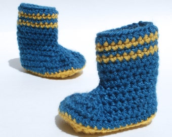 Blue and Yellow Baby Boy Boots, Crochet Booties, Crochet Slippers, Crochet Rain boots, Ready To Ship