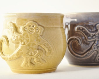 IN STOCK, Child Monkey Mug, Purple or Yellow Kid Cup, Child Animal Mug, Playhouse Dish, Kid Gift