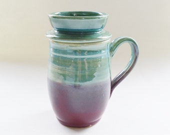 Green Burgundy Stoneware Mug with Lid for Holding Tea Bag, Lidded Mug