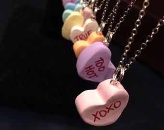 Candy Heart Necklace, Valentines Day, Candy Hearts, Gift for Her, Necklace, Valentines Gifts, Valentines Candy, Gifts for Kids