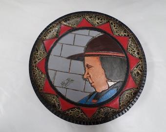Vintage Quimper Handpainted Wood Plate signed Paul Fouillen (1899-1958) (w679)