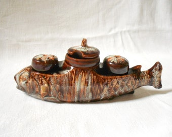 French Vintage Ceramic Fish Salt & Pepper and Mustard Set (A917)