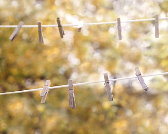 Laundry Room, Laundry Room Art, Rustic Country Clothesline, Clothesline and Clothespins, Simple Living, Country Life