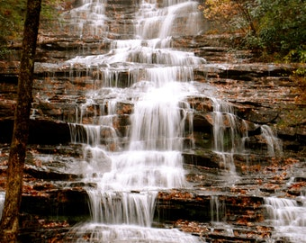 Minniehaha Waterfall, 8x10, wall art, gift, photo print, north georgia mountains, woods, forest, fall, nature photo, waterfall picture