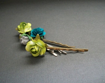 SAMPLE SALE Flower Bobby Pin Set of Five Teal Blue Green Grey Flower Natural Vintage Style Woodland Hair Pins Antique Bronze Toned