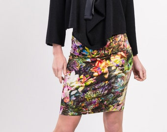 Viscose jersey floral printed skirt