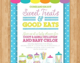 Sweet Treats Birthday Party Baby Shower Invitation - 5x7 Personalized Custom - Digital File Only