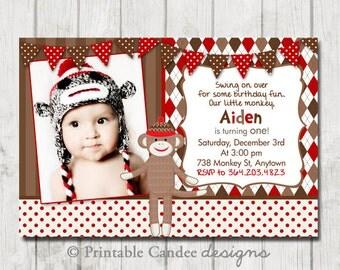 Sock Monkey Birthday Invitation - Red and Brown Sock Monkey Invitation - Sock Monkey Birthday - Sock Monkey Party - DIY Custom Printable