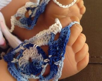 Sandals, Baby Girls Blue Crochet Barefoot Sandals