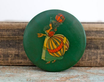 Antique hand painted tin - pin holder