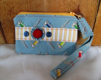 Vintage Look Fabric Thread and Needles Zippered Pouch With Wristlet