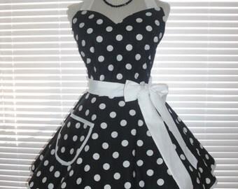 Sweetheart Retro Apron Black White Polka Dots Cotton Circular Flirty Skirt