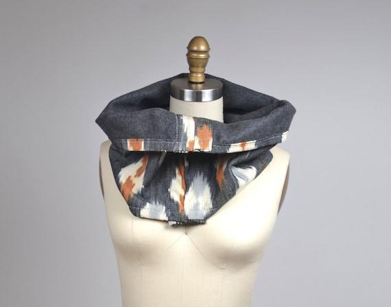 Ikat Winter Scarf - Ikat Woven Scarf - Wool Cowl Neck Warmer - Boho Cowl - Women's Cowl Scarf