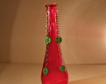 Long Green Button & Chain Dangly Earrings