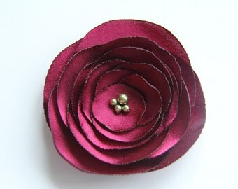 Deep Red Flower Brooch, Mother of Bride,  Wedding Flower