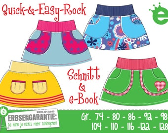Quick & easy skirt Euro-size 74 – 128 / US-size 9m to 8, PDF- pattern // instant download
