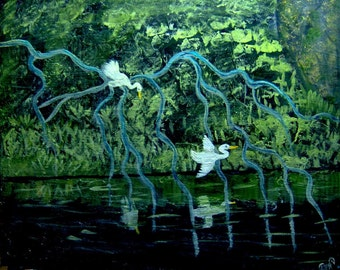 Egrets in the Deep Woods