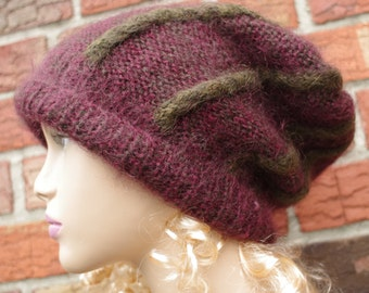 Mohair Dark Red   and Green Sluochy Cable Hand Knit   hat