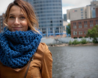 Royal Blue Infinity Cowl Neck Scarf