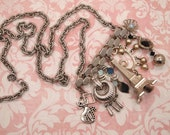 Assemblage Charm Pendant Necklace - Upcycled Repurposed Vintage Bar Pin Brooch & Vintage Jewelry Elements ~ Parisian Dream