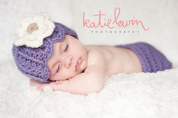 Newborn girl hat crochet purple beanie cloche hat with cream flower and diaper cover set photography photo prop