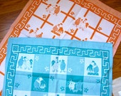 Mint Courting Chickens Tea Towel Made in Germany