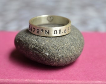 Longitude Latitude Sterling Silver Ring, Location Ring, Ring with Coordinates, Gift for her, Gift for him, Anniversary Gift