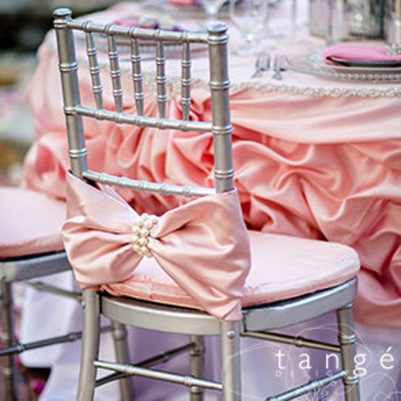 Pink Bow With Large Pearl Wrap Chiavari Chair Covers For The