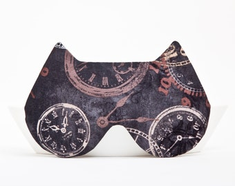 Sleep Mask Cat, Black, clock, Cat Mask