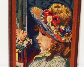 Vintage Renoir Needlepoint Young Girl Reading