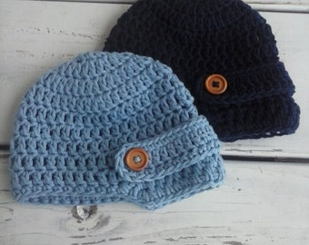 Crochet baby boy newsboy hat with wooden buttons navy blue and light blue Set of 2- 100% cotton 0-3 months, 3-6, 6-12 MADE TO ORDER