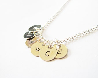 Personalized 6 Initials Necklace, Hand Stamped necklace, Family Initials, Mom of 6 Kids, 6 Kid Grandma necklace, six initials, engraved