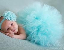 Aqua lavender fuschia tulle tutu, matching headband, newborn photo prop, newborn tutu ,baby gift, newborn picture outfit