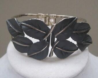 Vintage Jewelry Bracelet Cuff Bracelet Clamper Bracelet Leaf Pattern Adjustable Greenish Grey Color Silver 1950's Mid Century