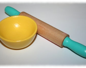 Kids Wooden Hand Painted Rolling Pin and Wooden Mixing Bowl, Pretend Play, Kitchen Set- Choose Your Colors