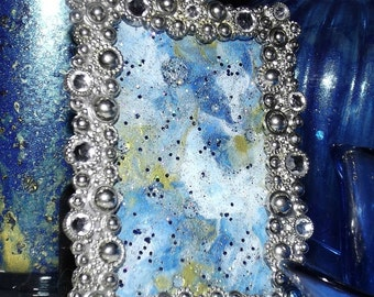 Jewel Encrusted Heaven Hand Painted Marble Framed Glass Art