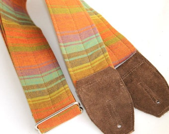 Guitar Strap - Summer Stripe with Suede Leather