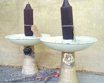 Upcycled Tin Candlesticks Candleholders, Vintage Metal Candleholders, French Farmhouse Chic Candlesticks
