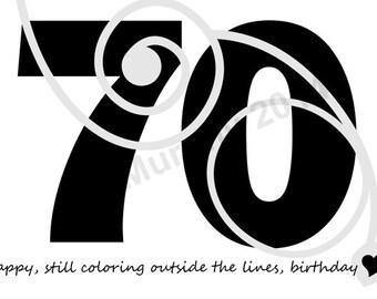DOWNLOAD 70th Birthday Card Turning 70 Happy Birthday Friend Birthday Milestone Birthday 70th Humor Birthday 70th Birthday Card