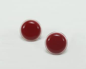 Red Stud Earrings 18mm - Red Earrings - Big Red Studs -  Red Post Earrings - Waterproof Red Earrings Studs - Surgical Steel Earrings