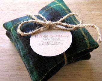 Balsam Sachets Blue and Green Plaid Pine Scent Balsam Fir Set
