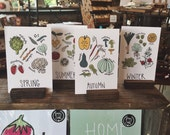4x6 Postcards  // What's In Season Cooking Produce Guide  - Set of four seasons