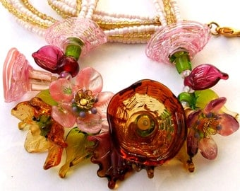 Lampwork Floral Necklace,  Amber-Pink Bouquet, Festive Glass Necklace,  Unique Gift, MADE TO ORDER