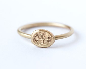 Gold Signet Ring, Sagittarius Ring, Signet Ring Women, Engraved Ring, Gold Zodiac Ring, Oval Signet Ring, Symbol ring, Pinkie Ring