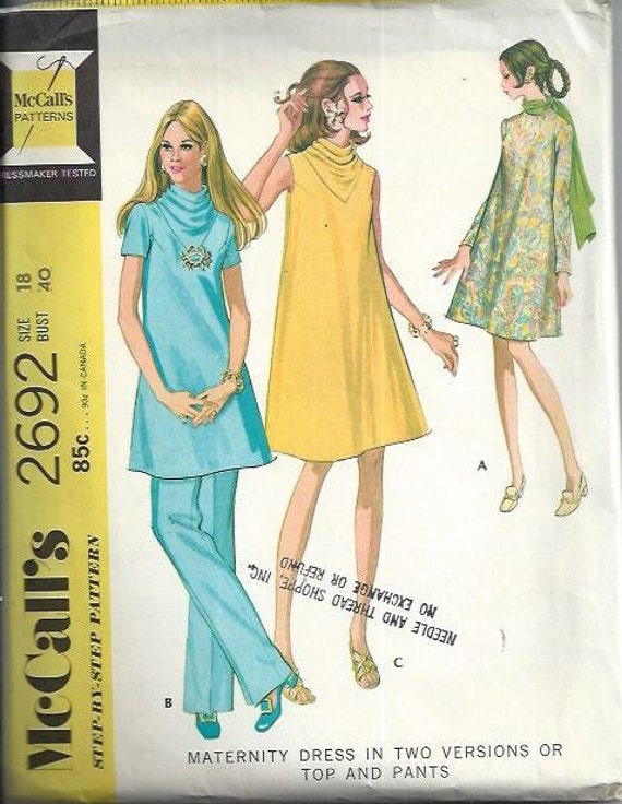 68f040cc509a3 Misses Cowl Neck Maternity Dress or Top and Pants Pattern, McCall's 2692,  Bust 40, UNCUT