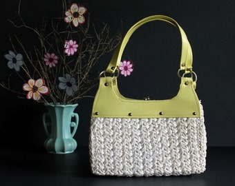 Vintage Handbag White Woven Plastic Raffia and Chartreuse Faux Leather Purse Made in Japan