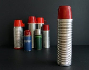 Vintage Thermos Brand Silver Ribbed Aluminum Oversized Working Man's Thermos With Red Cup