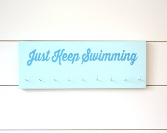 Swim Medal Holder- Just Keep Swimming - Medium