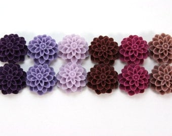 12 pcs Resin Flower Cabochons - 15mm Dahlia - Purples Assorted Mix